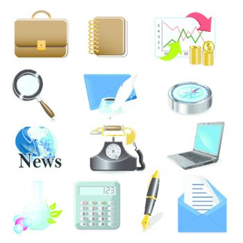 illustration, sixteen computer icons on white background