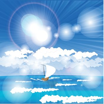 illustration, boat with white sail in open sea