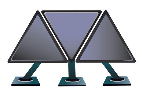 three computer monitors of the triangular form