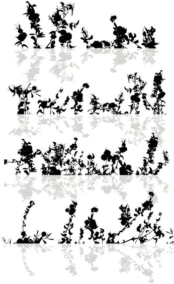 A set of foliage borders and reflection on white background