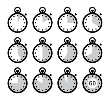 Timer measuring different time icons isolated on white