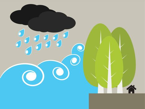 Tree protect tsunami or water wave in ecology concept illustration