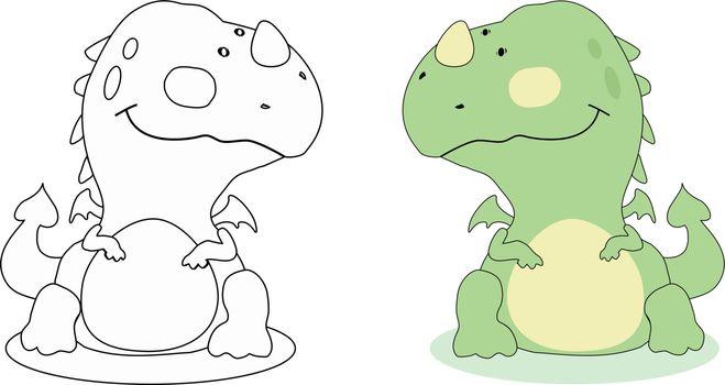 Cartoon dragon outline. Vector EPS 8