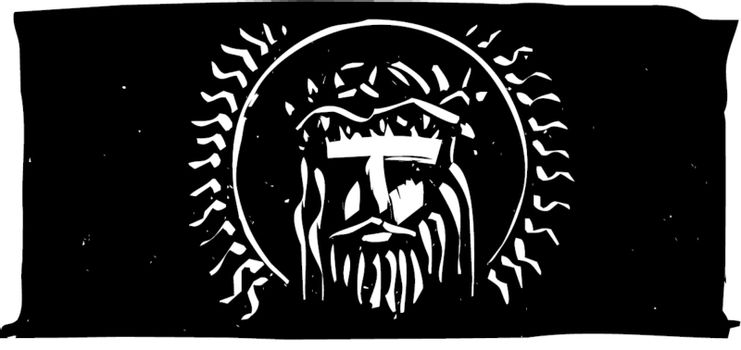 Woodcut style bust of Jesus with a thorn crown.