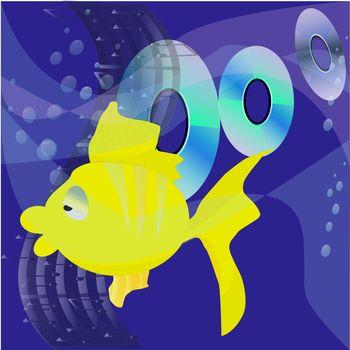 The figure shows music of fish        Music underwater