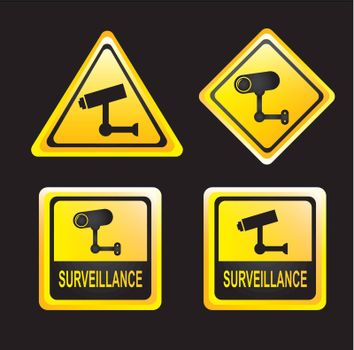 surveillance signs isolated over black background. vector illustration