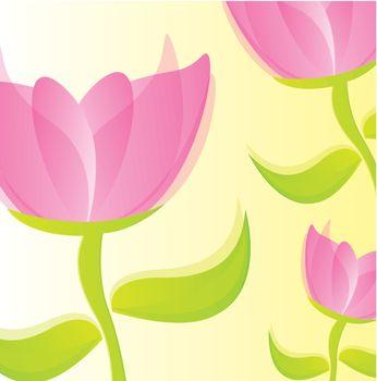 pink beautiful rose over beige background. vector illustration