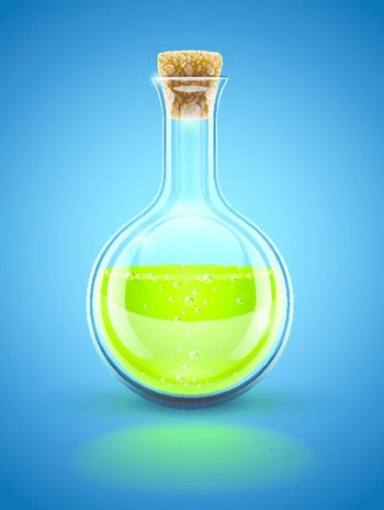 glass chemical flask with green toxic liquid and cork vector illustration EPS10. Transparent objects used for shadows and lights drawing