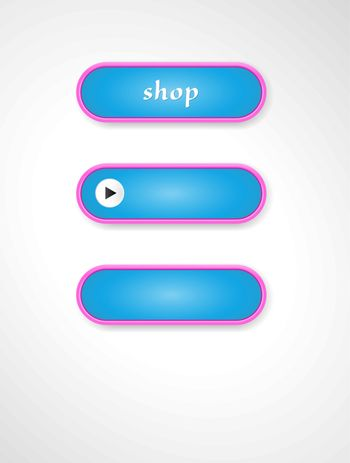 Set of three oval blue buttons with pink stroke