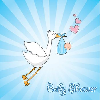 beautiful stork carrying a baby in its beak loving over blue background