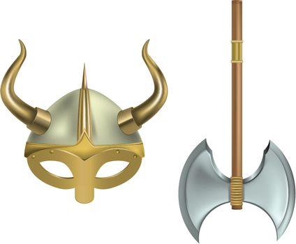 vector illustration of viking helmet and axe on white background