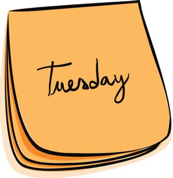 Daily Post-It Notes With Handwritten Monday (jpeg file has clipping path)