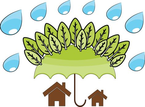 Tree protect home in the environment concept illustrattion