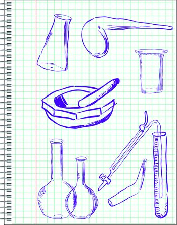 A set of laboratory equipment drawn in a notebook in a cage. Vector illustration.