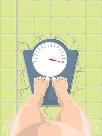Overweight concept - fat person on the weight scale crushing the floor, high angle view