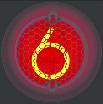 Digit 6 (six). Nixie tube indicator of the numbers of retro style isolated on black