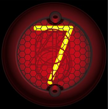 Digit 7 (seven). Nixie tube indicator of the numbers of retro style isolated on black