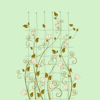 floral decoration on a green background
