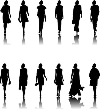 The models in a dress go on a path. A vector illustration.