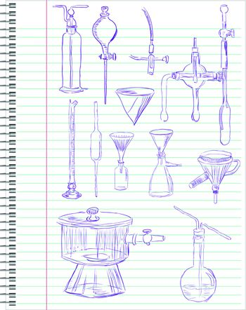 A set of laboratory equipment in a school notebook. Vector illustration.