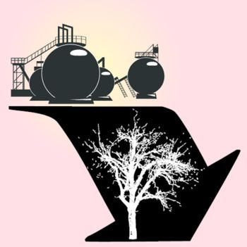 Environmental degradation associated with dirty processing. Vector illustration.