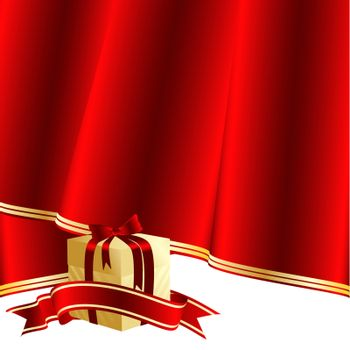 vector holiday background with gift box and red curtain