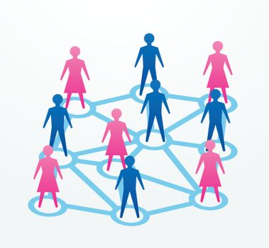man and woman paper cutout people sihouettes, with connections with everyone.