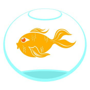 Goldfish in a bowl isolated on white