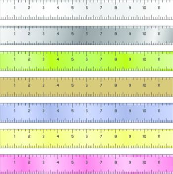 Detailed vector illustration of common measurement rulers