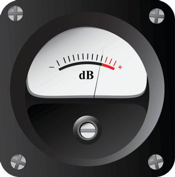 A device for measuring the sound intensity in decibels. Vector illustration.