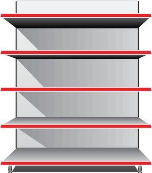 Trading Equipment - Empty shelves for the goods. Vector illustration.