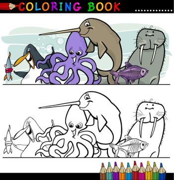 Coloring Book or Page Cartoon Illustration of Funny Marine and Sea Life Animals for Children Education