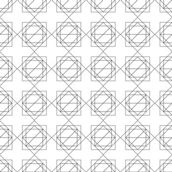 Black and white simple geometric seamless pattern. Repeating texture with square and triangular shapes.