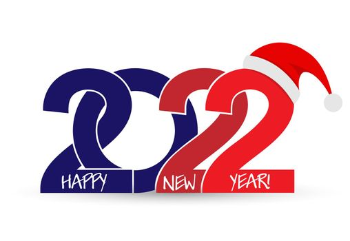 An inscription with a New Year 2022 and a Santa Claus hat. Flat style