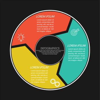 Infographics. Pie chart for business, marketing, finance and planning. Flat style
