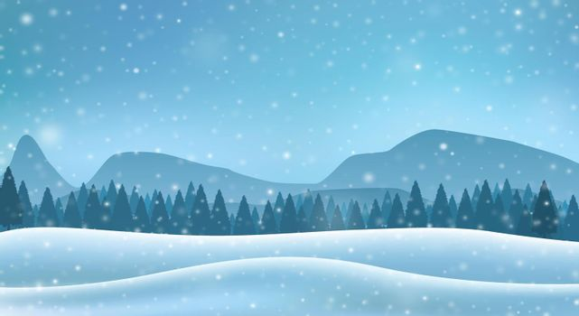 Winter snowy landscape with mountains, hills and pine forest. Vector illustration.