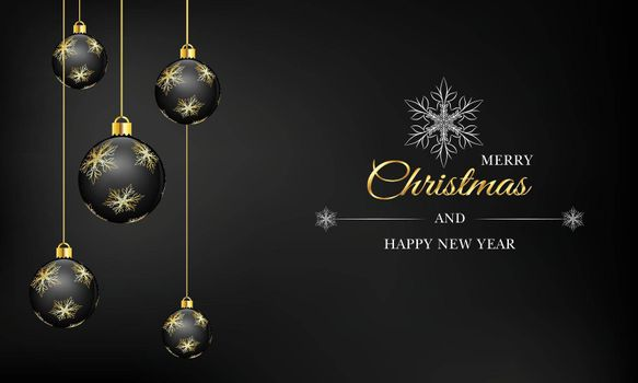 Black luxury festive vector illustration. Merry Christmas greeting text. Hanging bauble with gold decoration.