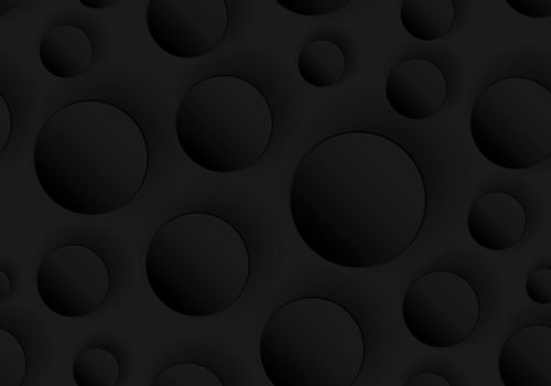 3D black circles embossed seamless pattern on dark background and rough texture. Vector illustration