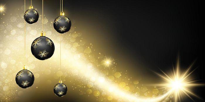 Black shine christmas background. Shiny gold comet star and hanging bauble, golden decoration. Eps10 vector illustration for banner, gift card, greeting cards, poster, discount flyer, website, header.