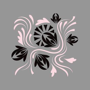 Folk floral flowers print Floral bouquet of fantasy folk flowers  Botanical illustration in flat cartoon style