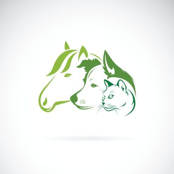 Vector of mammal group design on white background. Horse. Dog. Cat. Animals. Pets. Easy editable layered vector illustration.