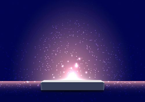 3D realistic pedestal podium with light burst illumination partlcles on dark blue background for product display show or place for presentation. Vector illustration