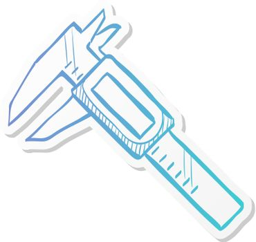 Digital caliper icon in sticker color style. Instrument equipment measurement accuracy millimeter
