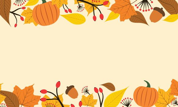 Autumn background in yellow and orange colors. Flat design with pumpkin, berries and leafs frame decoration. Simple vector illustration.