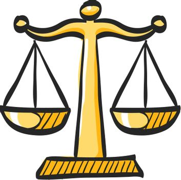 Justice scale icon in color drawing. Law litigation measurement balance