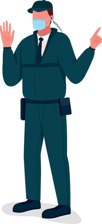 Covid security guard flat color vector faceless character. Corona virus quarantine rules controlling. New reality isolated cartoon illustration for web graphic design and animation