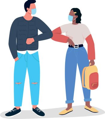 Covid elbow greetings flat color vector faceless character. Meeting friends during corona virus quarantine. New reality isolated cartoon illustration for web graphic design and animation