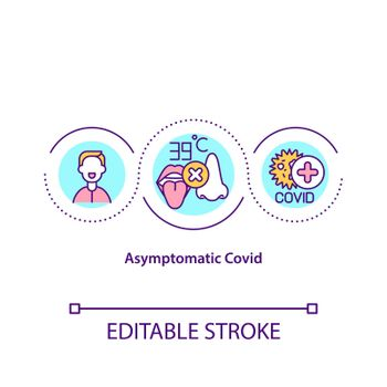 Asymptomatic covid concept icon. Easy form of corona virus treatment process. Fighting pandemia idea thin line illustration. Vector isolated outline RGB color drawing. Editable stroke
