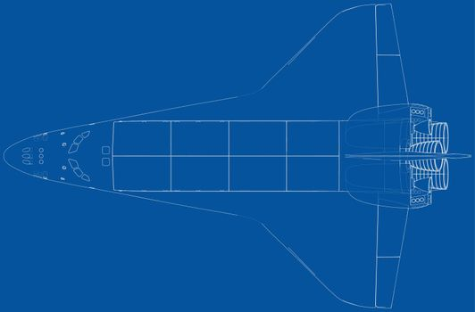 Space shuttle. Vector rendering of 3d. Wire-frame style. The layers of visible and invisible lines are separated. Orthography or isometric