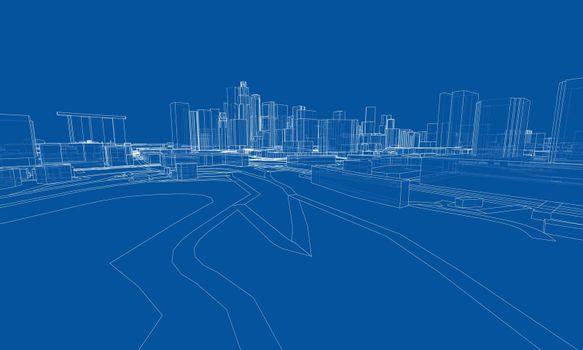 City view. Buildings and streets. Vector rendering of 3d